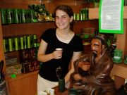 Bekah and the tea expert statue